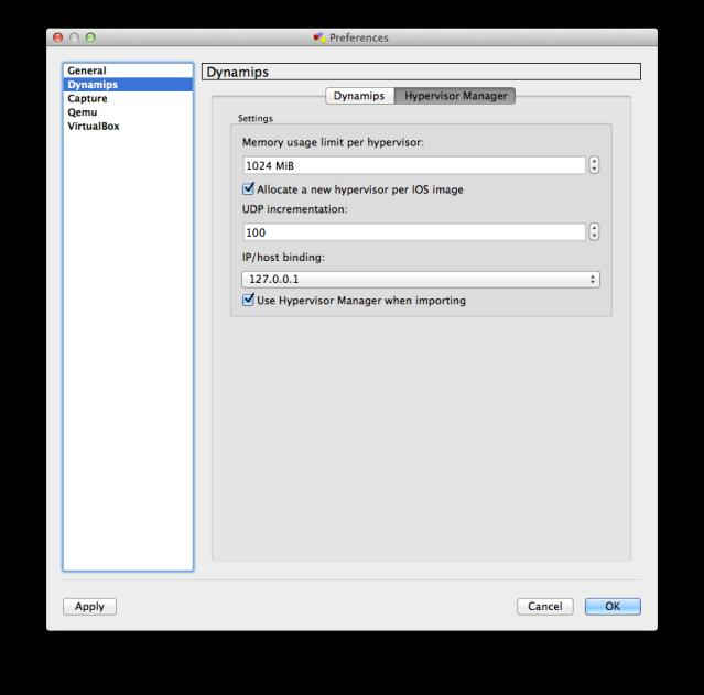 GNS3 Preferences - Dynamips - Hypervisor Manager